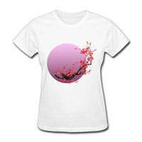 New Fashion Pink Moon Sakura Flowers T Shirts Women Short Sleeve Japanese Cherry Blossom T Shirt