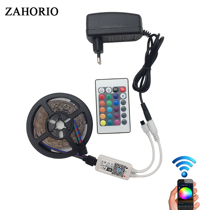 WIFI Controller 2835 RGB LED Strip lamp light Waterproof Flexilble Tape diode ribbon DC 12V adapter set New Year Garland Christm