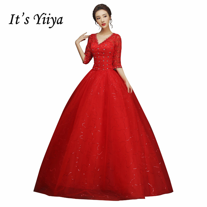Summer Real Photo Half Sleeves V-Neck Bling Wedding Dresses Cheap Red White Bride Gowns Custom Made Vestidos De Novia XXN145