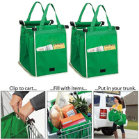 MOSEKO 2PCS Shopping Bags Foldable Tote Handbag Reusable Trolley Clip To Cart Grocery Shopping Bags