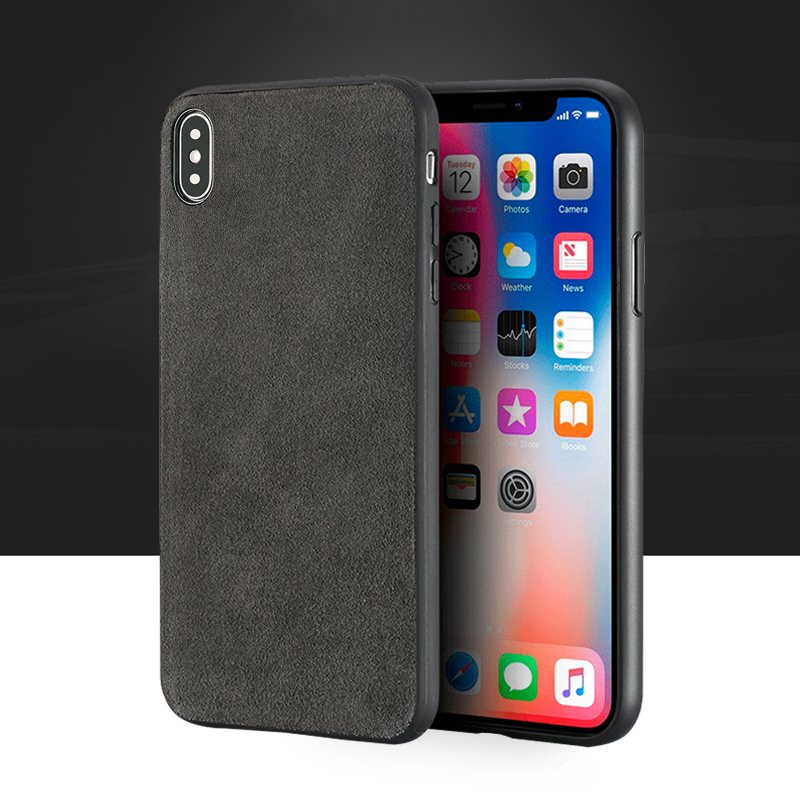 Low-key luxury Genuine leather Phone case For iPhone X case Suede leather back cover For 6 6S 7 8 Plus X 5 5S SE cases
