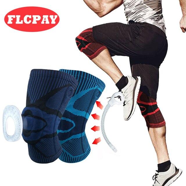 חדש 1 PCS כדורסל כדורעף סיליקון אביב תמיכה KneePad אלסטי ספורט Brace הגנת כושר הברך רפידות רצועת להגן