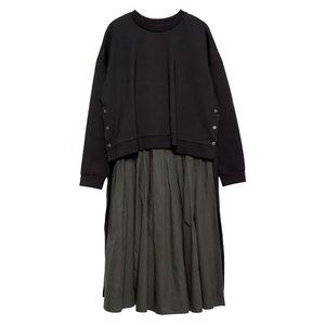 Image 5 - [Xitao] 여성 유럽 패션 드레스 2019 봄 새로운 캐주얼 전체 슬리브 솔리드 컬러 오 넥 불규칙한 여성 twinset 드레스 lyh3101