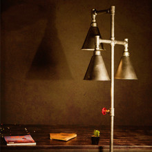 Loft Water Pipe Floor Lamp American Vintage Decoration Personality Iron Floor Lamp For Coffee Restaurant Bar three bulbs wooden base decoration water pipe desk lamp used for restaurant cafe bar bedroom