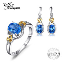 Love Knot 18K Yellow Gold Aside Natural Blue Topaz Diamond 925 Sterling Silver Jewelry Set Brand