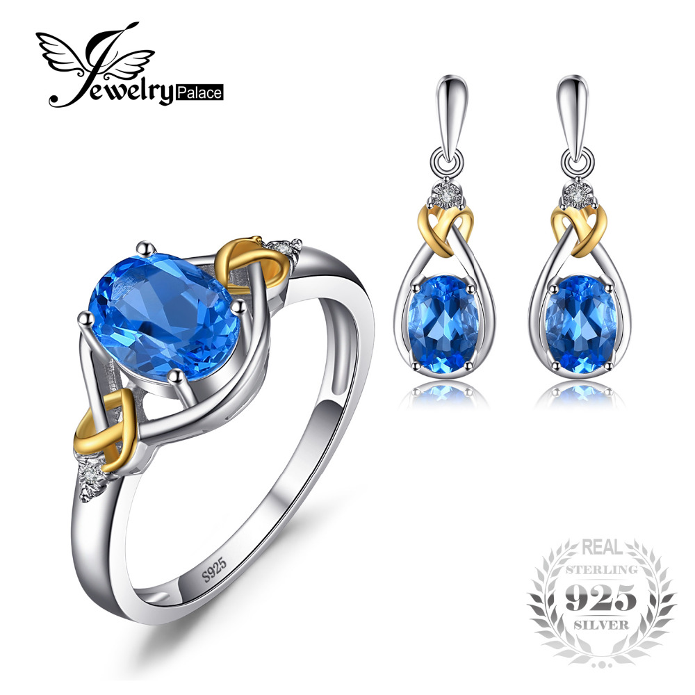 все цены на Jewelrypalace Love Knot 18K Gold Aside Natural Blue Topaz Diamond 925 Sterling Silver Jewelry Set Fine Jewelry Earring Ring