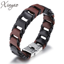 XINYAO 2017 New Retro Titanium Steel Leather Bracelets Bangles for Men Fashion Punk Rock Cowhide Leather Bracelet Men Jewelry