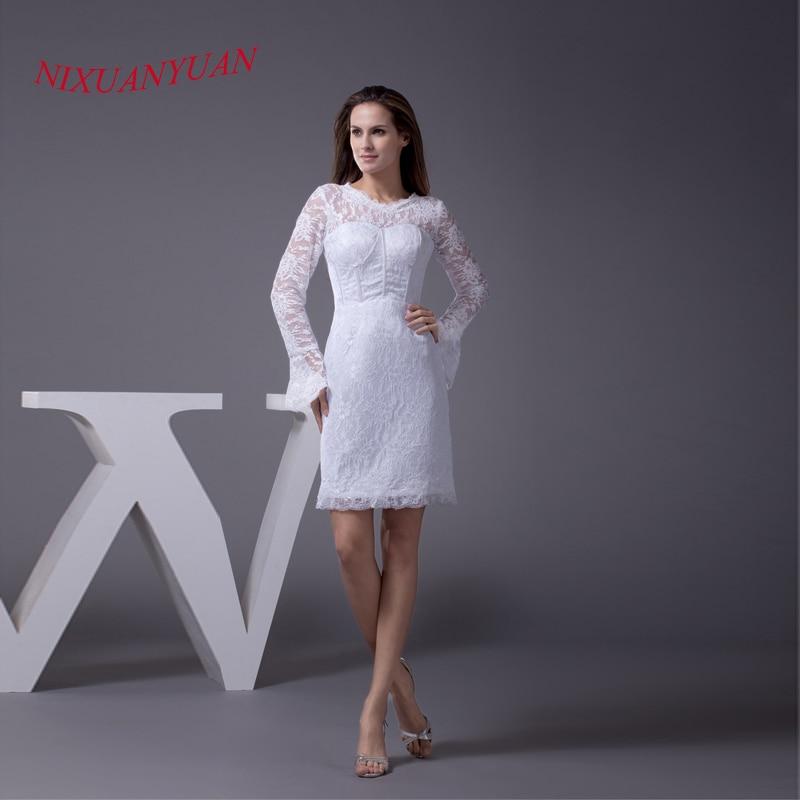 NIXUANYUAN 2017 vraie Photo S robes formelles blanc dentelle robe de soirée 2017 O cou haut-parleur manches pas cher vestidos de noite