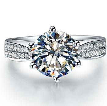 Brilhante 1ct teste real moissanite diamante anel de noivado sólido 18k ouro branco anel de aniversário de casamento 1