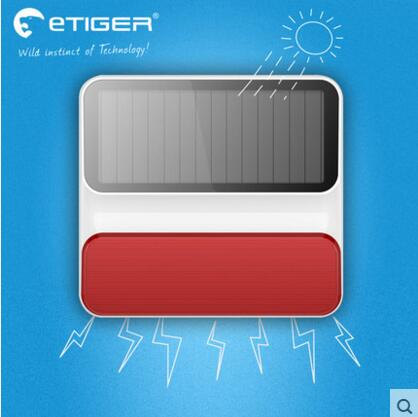 433mhz Etiger Wireless outdoor Solar power strobe flash siren ES S8A for Etiger S4 alarm system