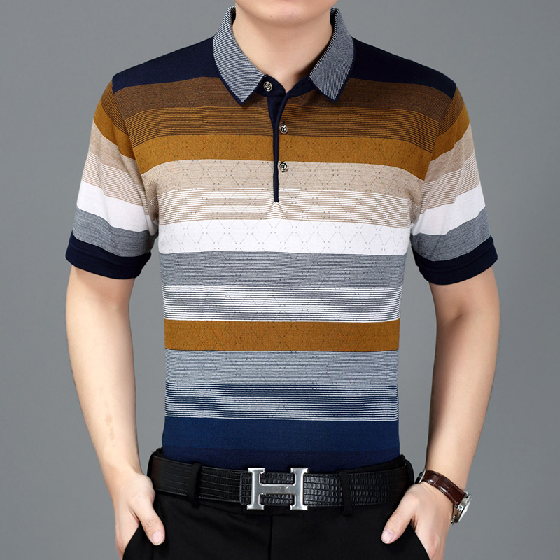 Summer middle-aged men short sleeve   POLOS   lapel knitted striped   polo   shirt men classic high quality cotton shirt homme