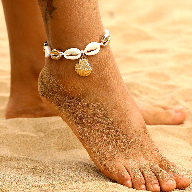 IPARAM Vintage Gold Anklet Female Shell Charm Beach Geometry Sequins Bracelet & Anklet 2019 Wholesale Boho Foot Jewelry