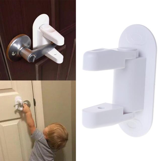 Baby Safety Lock Door Lever Home Newborn Kids Children Protection Doors Handle Universal Adhesive Compatible Professional
