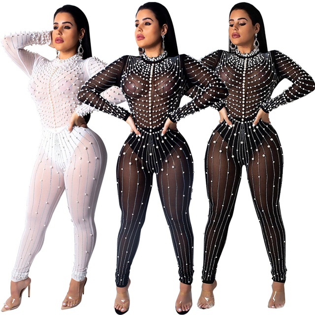 30ea32917b7 Diamond and Pearl Sheer Mesh Jumpsuit Women Sexy Long Sleeve Night Club  Party Romper Female Sheath Outfits Plus Size XXL
