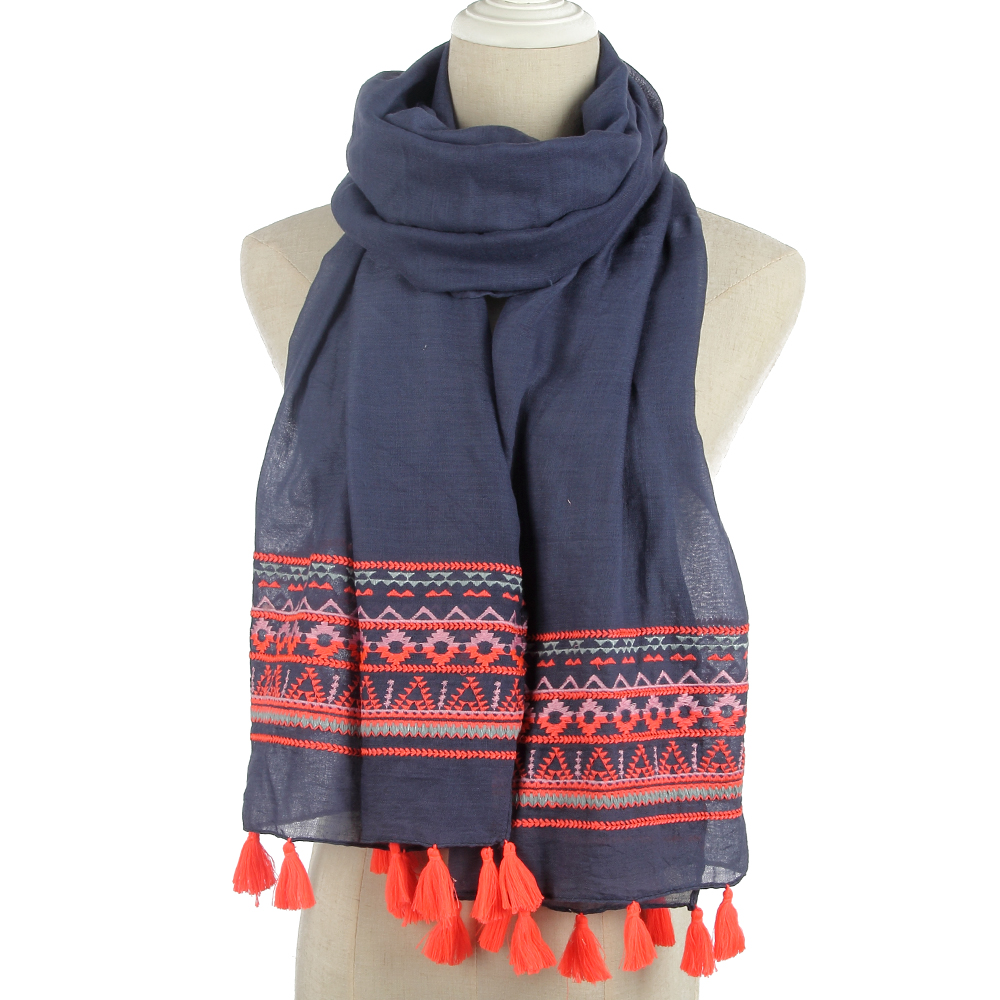 FOXMOTHER New Fashion Women Brand Navy Geometric Embroidery Wrap Scarf With Neon Orange Tassel