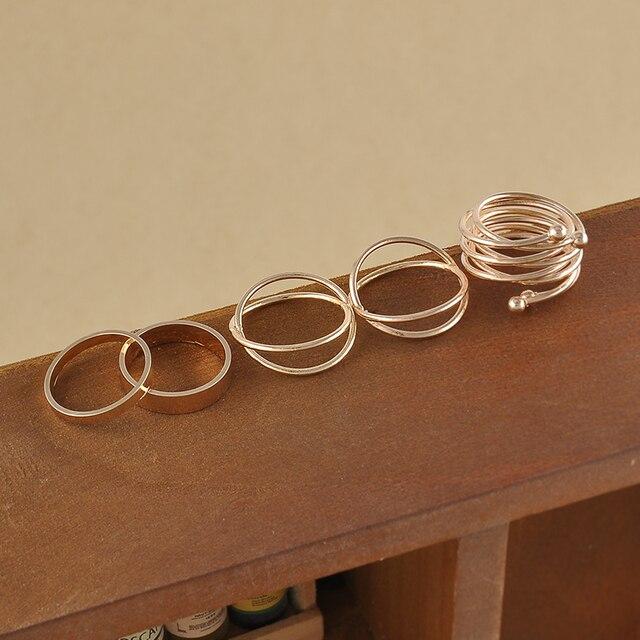 6pcs set unique ring set punk style gold color knuckle rings for