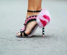 Faux Pink Rabbit Fur Back Women Open Toe Sandals Red Heart Straps Ladies Cutout Style High Heels Ankle Buckle Female Dress Shoes