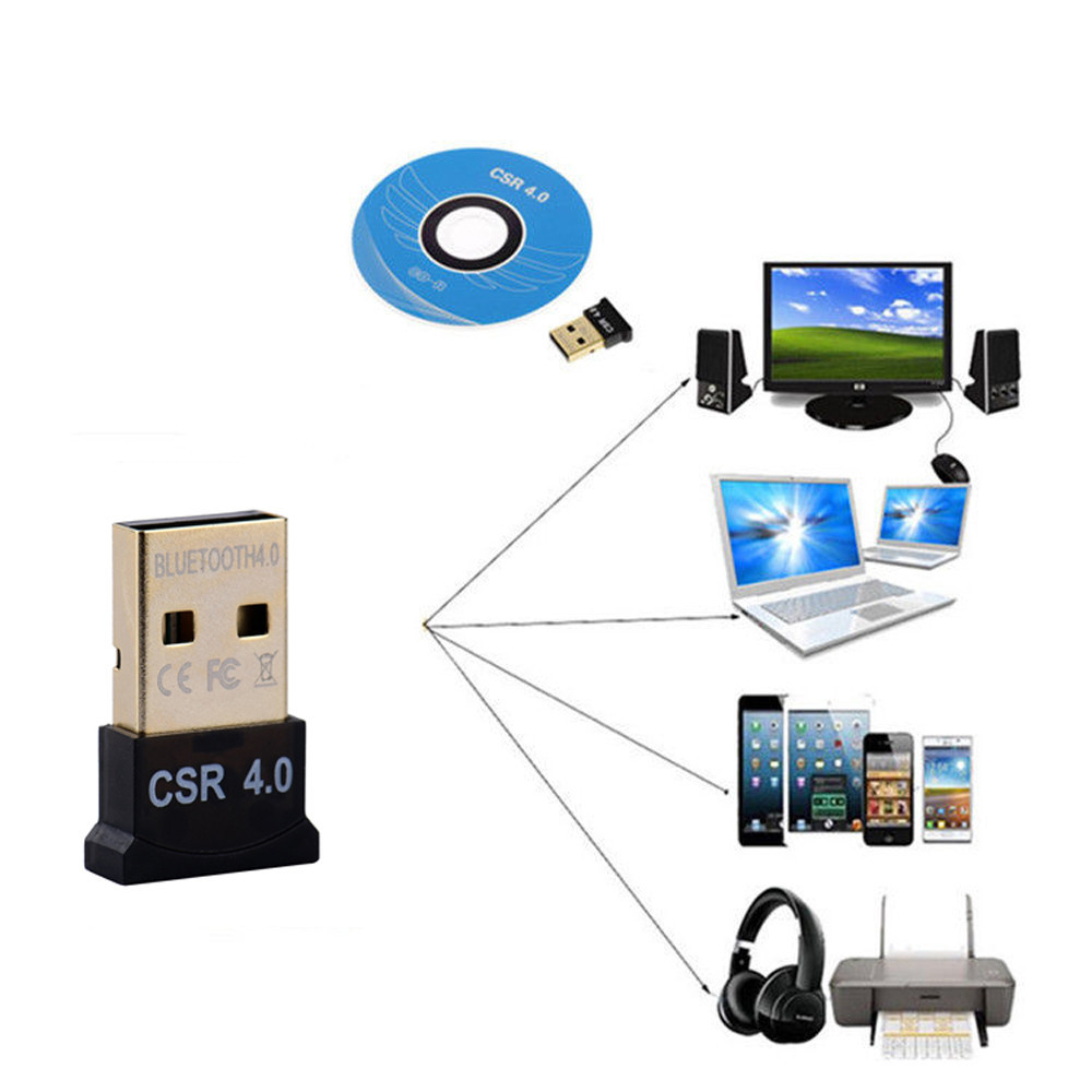 Mini Wireless Dongle Audio Receiver USB Bluetooth 4.0 Adapter For PC Laptop Win XP Vista7/ 8/10 6A20 Drop Shipping