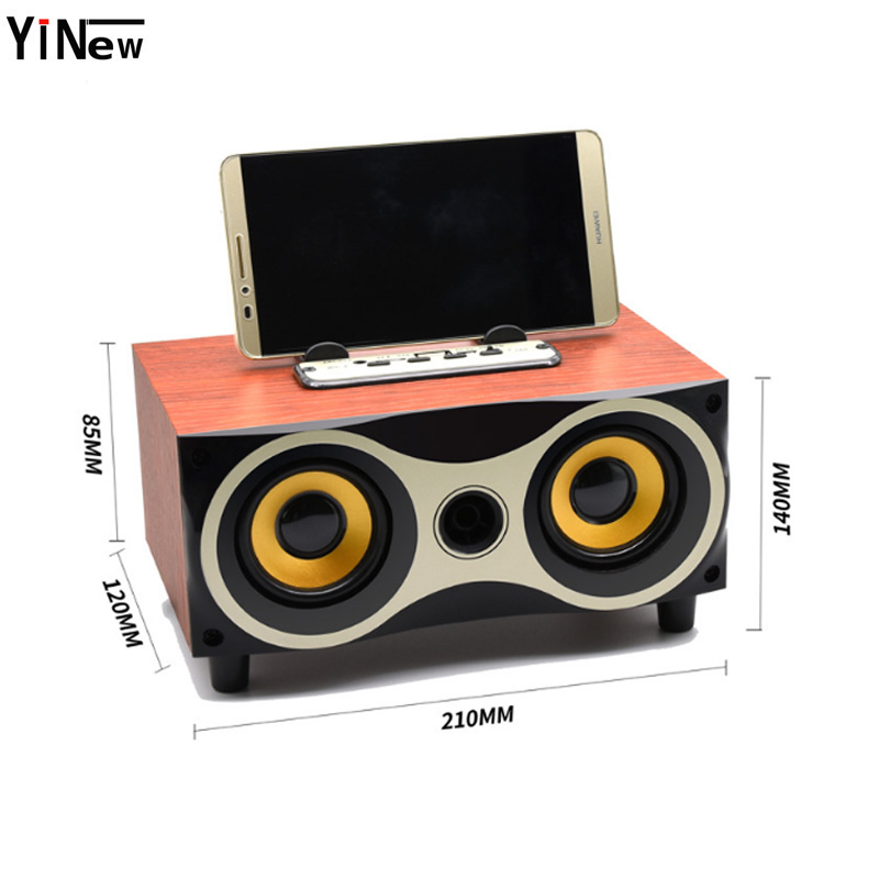 Wooden Portable Bluetooth Speaker Bass Soundbar Subwoofer Wireless Speaker Home Theater Music center FM AUX FM Music Boombox in Subwoofer from Consumer Electronics