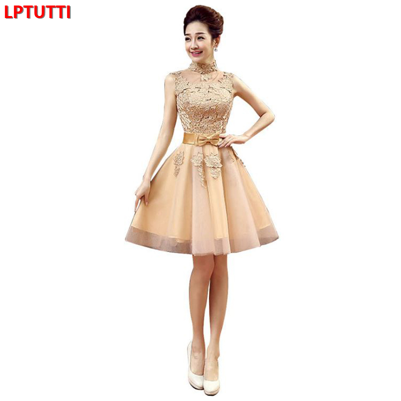 LPTUTTI Lace Bow New Sexy Woman Plus Size Social Festive Elegant Formal Prom Party Gowns Fancy Short Luxury   Cocktail     Dresses