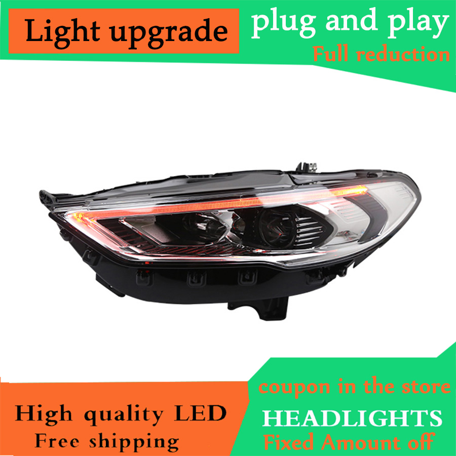 D YL Car Styling for Ford Mondeo 2017 2019 Headlights Fusion LED Headlights flowing Optical Lens