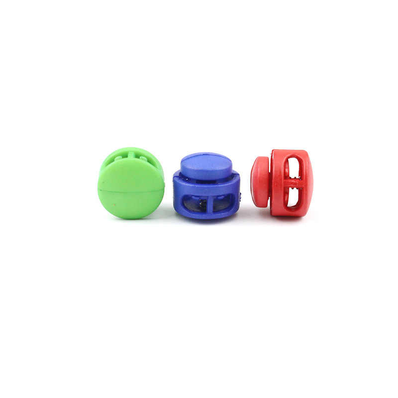 10 pces 16*17mm multi cores plástico paracord cabo de bloqueio braçadeira 2 buraco toggle clipe rolha cordéis cordéis fivelas saco peças accessori