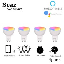 Smart wifi LED GU10 ,APP and Alexa, Google Assistance Voice Controlled ,RGBW Color Changing light bulb(4Pack)