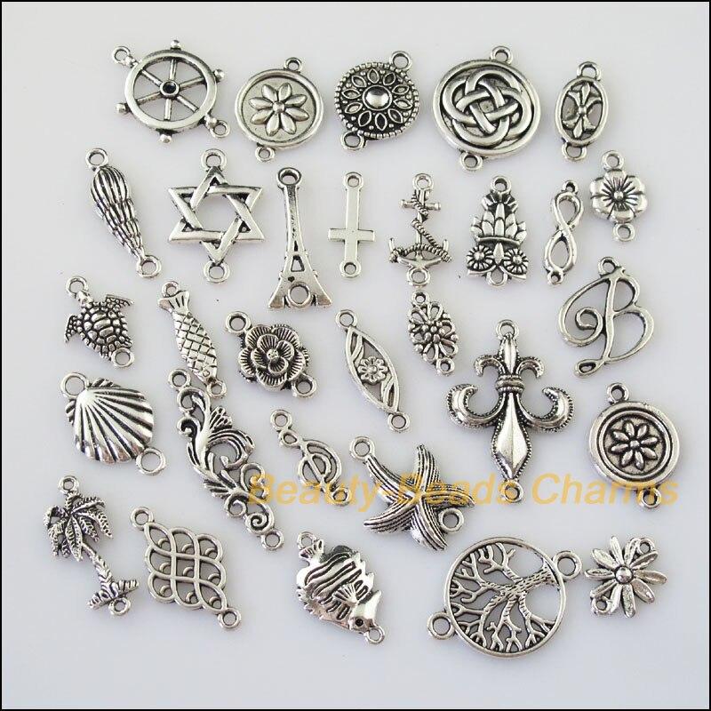18Pcs Tibetan Silver Tone 1-3 Smooth Charms Pendants Connectors 10x13mm