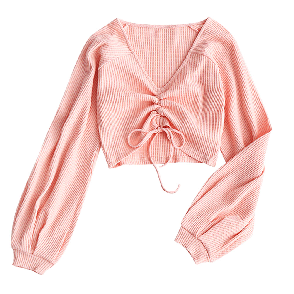ZAFUL 2018 New Short Cover ups Women Gathered Textured Knitted Top Cropped Knitting V Neck Top Cover ups Beach Solid Cover Up inc new pink coral women s xl smocked hem v neck gathered blouse $39 209 page 3 page 5