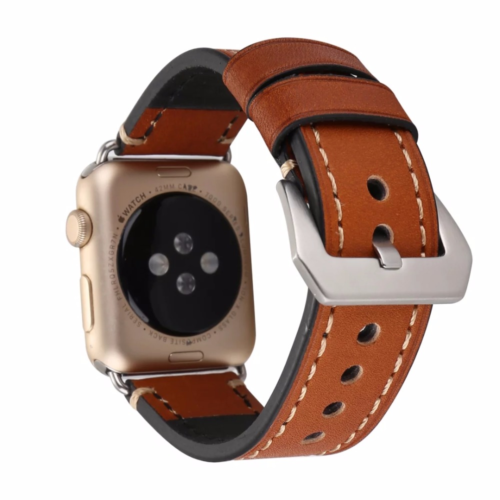 все цены на Men's Watch Band Strap for Apple Watch 38/42mm Series 1/2 Big Metal Buckle Bracelet Light Brown Black I209. онлайн