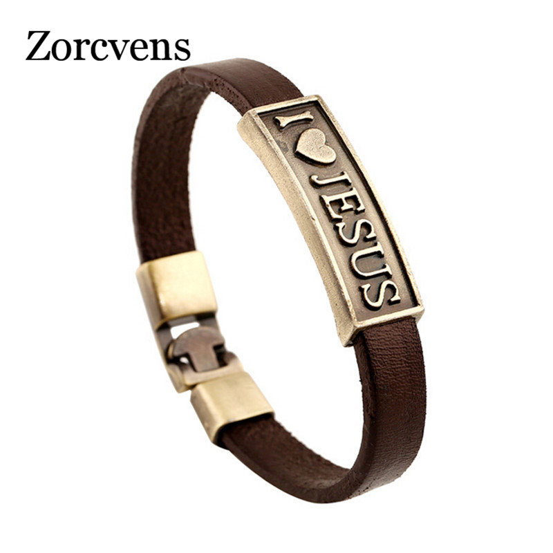 ZORCVENS Vintage Letter Jesus Bracelet Bangle Male Prayer Christian Bracelet Leather Women Jewelry