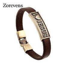 ZORCVENS Vintage Letter Jesus Bracelet Bangle Male Prayer Christian Bracelet Leather Women Jewelry