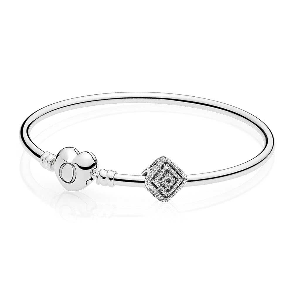 100% 925 Sterling Silver Geometric Lines Bangle Set Clear CZ Fit DIY Original Charm Bracelets Jewelry gift A set of prices 100% 925 sterling silver you and me bangle gift set clear cz fit diy original charm bracelets jewelry a set of prices