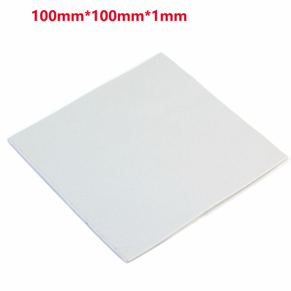 CPU GPU Silicone Thermal Pad Heatsink Cooling Conductive Heat Sink 100mm*100mm*1mm white 100mm 100mm 1mm soft silicone thermal pad thermal pads heat conductive for heatsink laptop ic chipset chip vga gpu gap