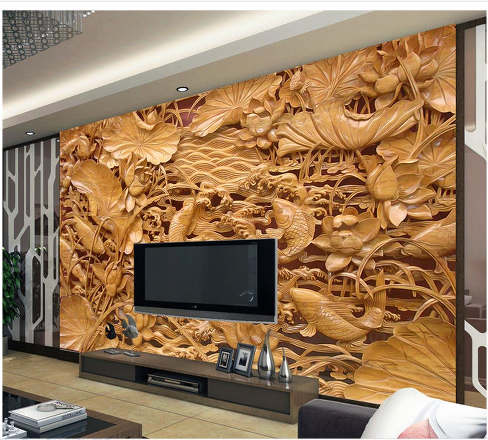 3d name wallpapers Home Decoration Classical carved wooden mural TV backdrop pond wall mural photo wallpaper beibehang modern luxury circle design wallpaper 3d stereoscopic mural wallpapers non woven home decor wallpapers flocking wa
