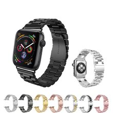Luxury Stainless Steel Strap for apple watch band 42mm/38mm/44mm/40 link bracelet Watchband for iWatch 4/3/2/1 metal wrist belt(China)