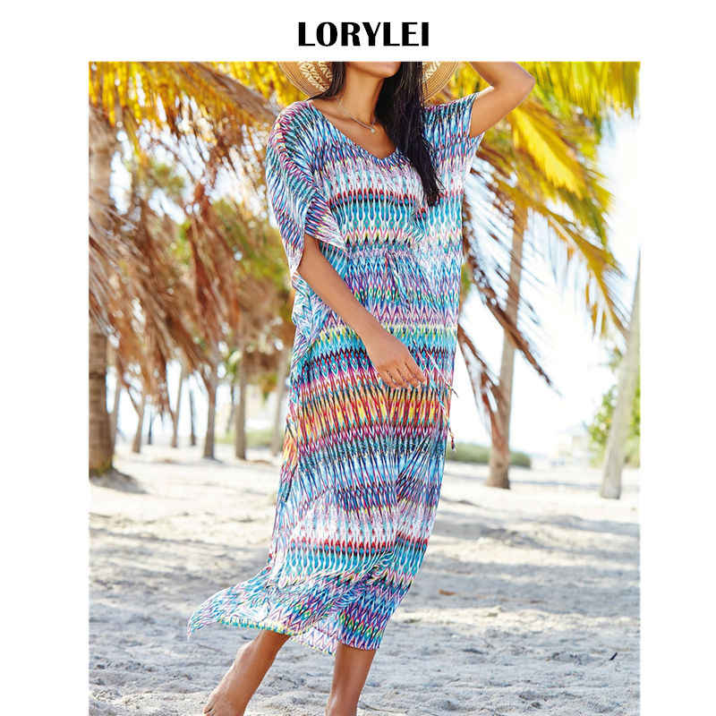 Bohemian Chiffon Tunic Beach Dress Swim Cover Up Plus Size Women Summer  Beachwear Short Sleeve Loose ae87c7804ccc