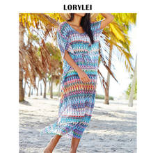 Bohemian Chiffon Tunic Beach Dress Swim Cover Up Plus Size Women Summer Beachwear Short Sleeve Loose Straight Dress Sarongs N98(China)