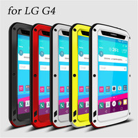 LOVE MEI Extreme Waterproof Metal Silicone Case For LG G4 With Gorilla Tempered Glass Screen Protector