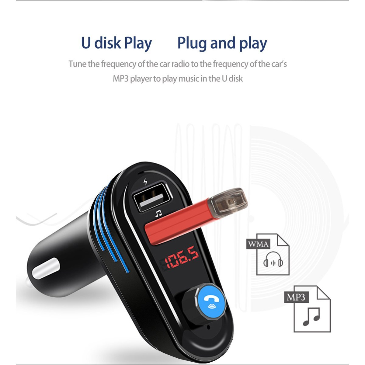 154c71eff22 Multifunction Wireless Car Bluetooth MP3 music Player FM Transmitter  Adapter with Hands Free Calling Support Dual USB Charge A-in Car MP3 Players  from ...