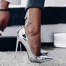 Пикантные Для женщин стилеты на высоком каблуке, на шпильке Блестящими Золотыми каблуками Лакированная кожа Для женщин насосы с металлическими серебристого цвета женские свадебные туфли