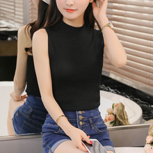 The new spring and summer 2016 sweaters sleeveless vest blouse Korean slim slim ride sling short thin