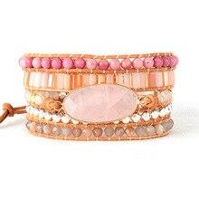 Женские Бусы Кожаный браслет с натуральными камнями розовый кристалл кварца 5 нитей тканые браслеты богемные браслеты Прямая поставка