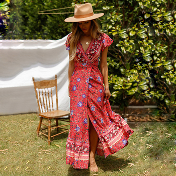 2019 Floral Print Wrap Dress Short Butterfly Sleeves Boho Summer Dresses V-Neck Women Maxi Dress Casual Beach Dress