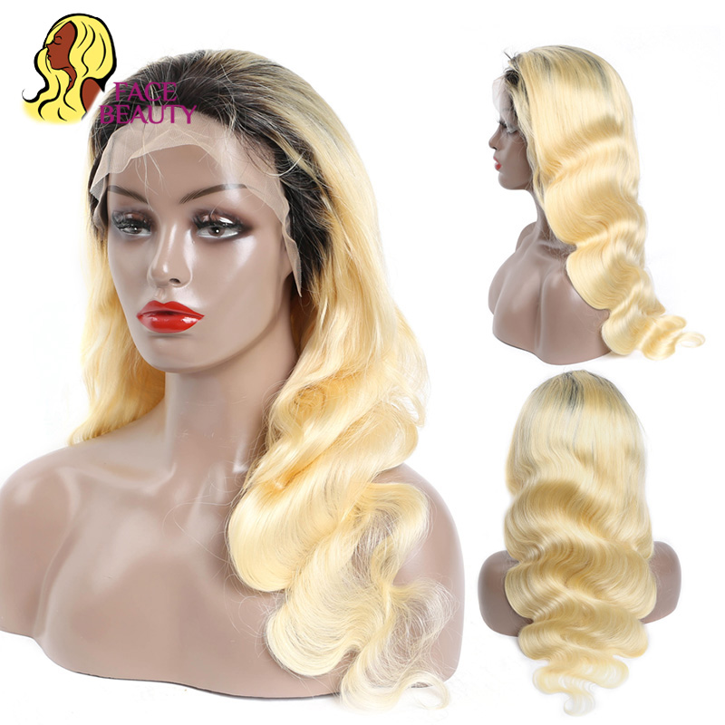 Facebeauty Wavy Malaysian Wig 1B 613 Blonde Ombre Remy Lace Front Human Hair Wigs Natural Hairline