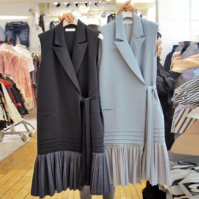 Elegant Sleeveless Women Long Coats New Spring Pockets Adjustable Waist Female Jackets Casual Hem Pendulum Stitching Vests Femme