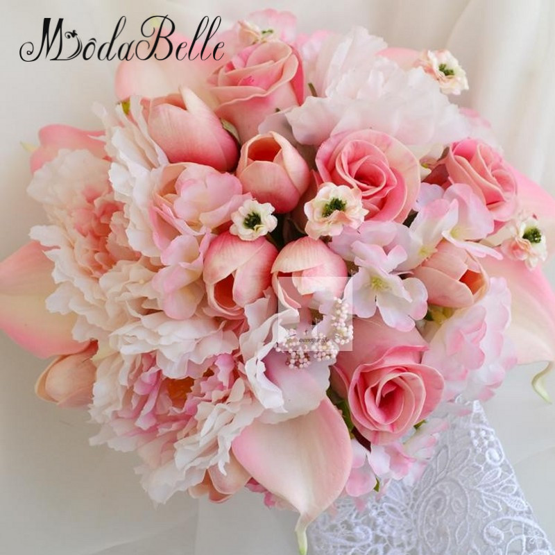 Modabelle Tulip Rose Calla Lily Pink Wedding Bouquets For Bride