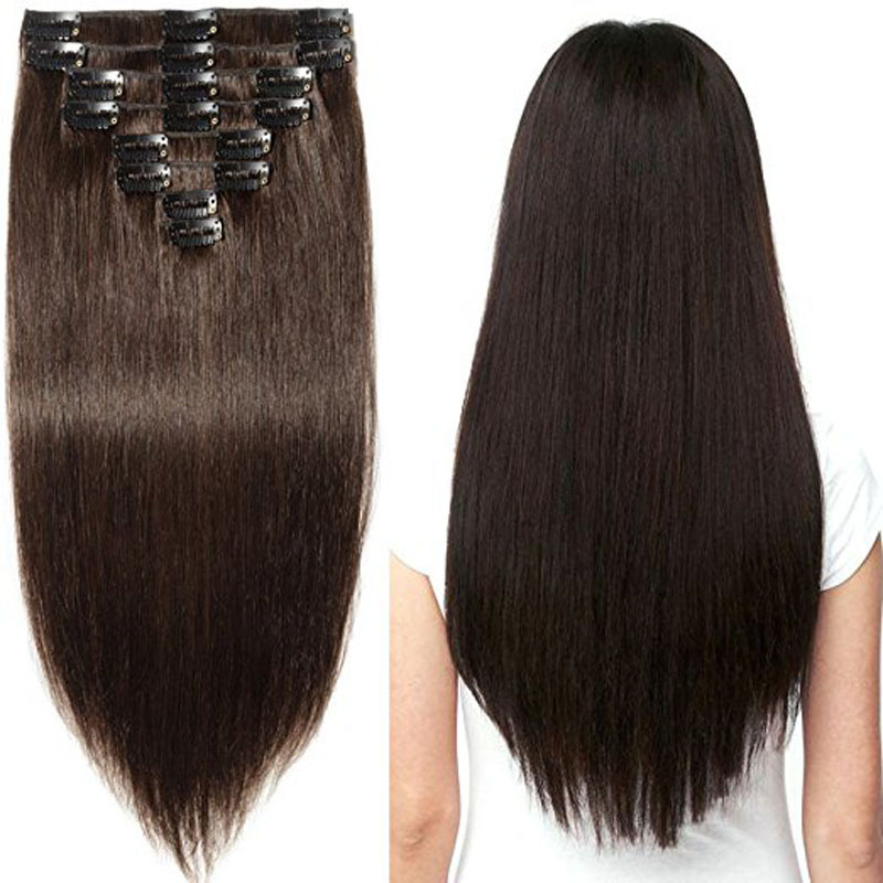 Sell Hot Real Human Hair  Clip  Extension Piece  Clip In Hair Invisible Hair Extension Indian Hair Brow Color
