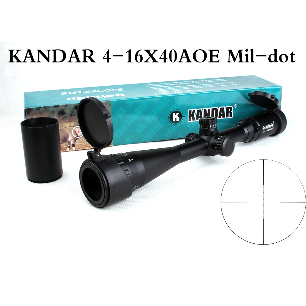 KANDAR 4-16x40 AOE Hunting Riflescope Tactical Optical Sights Reticle Mil-dot Rifle Scope RGB Illumination with 11 or 20mm Rings diana 4 16x42 ao tactical optical sight mil dot reticle riflescope hunting rifle scope with 11m or 20mm rings for airsoft rifle
