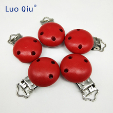 Wooden pacifier Clips Round Clip Charms For Baby Pacifier Chain Teether Toys 5 pcs/lot